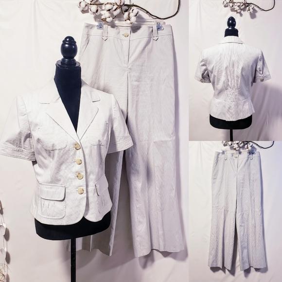 LOFT Dresses & Skirts - Loft pinstriped gray suit size 8 NWT🦄💋